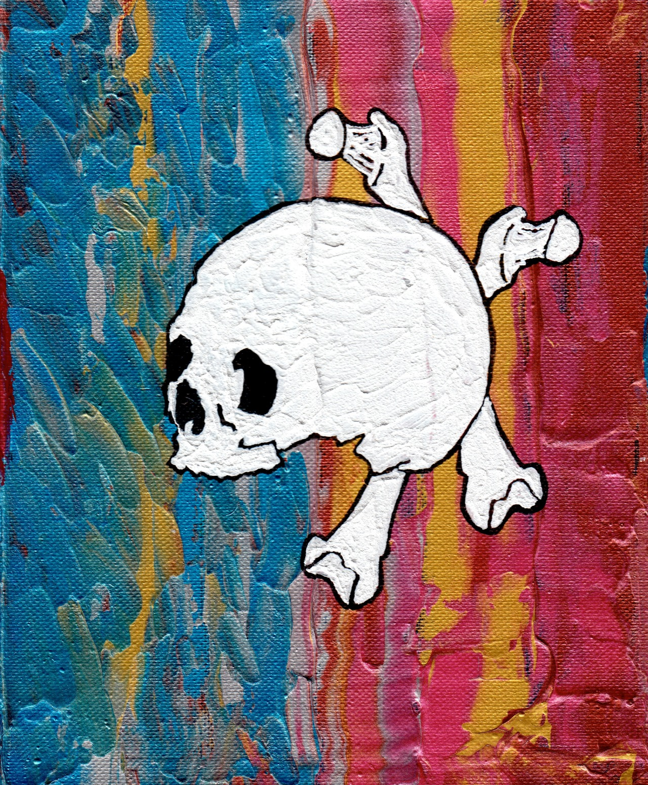 "Bones #5 - This Ain't The Jolly Roger - 8""x10"" - Acrylic on Canvas"