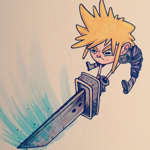 paperbeatsscissors:  Just some spiky-headed jerk. #cloud #ffvii #tumblrgram http://bit.ly/165LprF