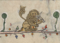lion playing the viella Summer volume of the Breviary of Renaud/Marguerite de Bar, Metz ca. 1302-1305. Verdun, Bibliothèque municipale, ms. 107, fol. 26r
