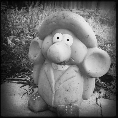 Garden Nome II • A very worried guy. #garden #nome #b&w #afternoon #Hipstamatic #worried