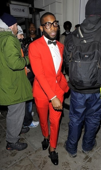 Men's Fashion Flash: Tinie Tempah's Sir Paul Smith and British GQ Party Red Paul Smith Spring 2013 Suit and Christian Louboutin Japonaise Loafers