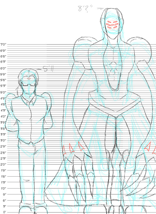 "nekokoneco:  Did a quick sketchy size comparison of Edison and his golemy real self.  Mostly for self reference so I can remember how big he is <w>""  Used this height chart: http://browse.deviantart.com/art/blank-height-chart-121670324  This is mighty useful! Ty for posting it! <3"