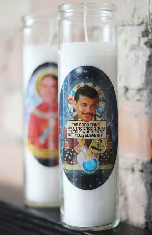 barbotrobot:  Neil Degrasse Tyson as a votive candle.  Uhm, is that Bill Nye behind him? Need.