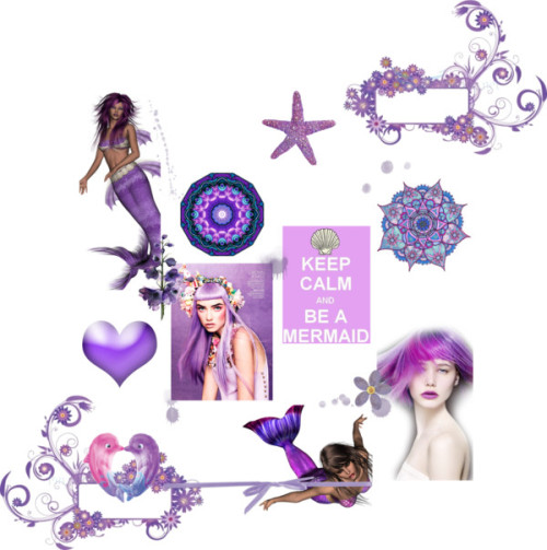 Keep Calm & Be a Mermaid by enchanting-muse on Polyvorevector background - abstract floral illustration - Stock vector art…