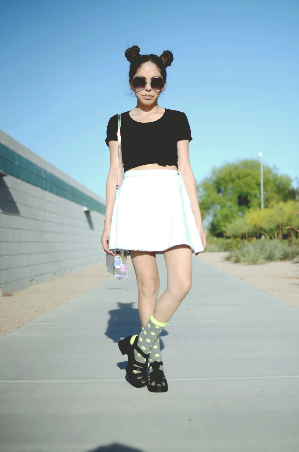 orangemilkpeel:  Outfit of the day: thrifted top, aa circle skirt, f21 socks, aldo sandals