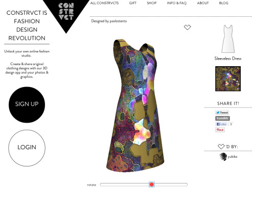Very intrigued by Constrvct.com where you design your own dress with your uploaded digital artwork… Proper democratic design in line with our Hack-tivate AW 13/14 Macro trend
