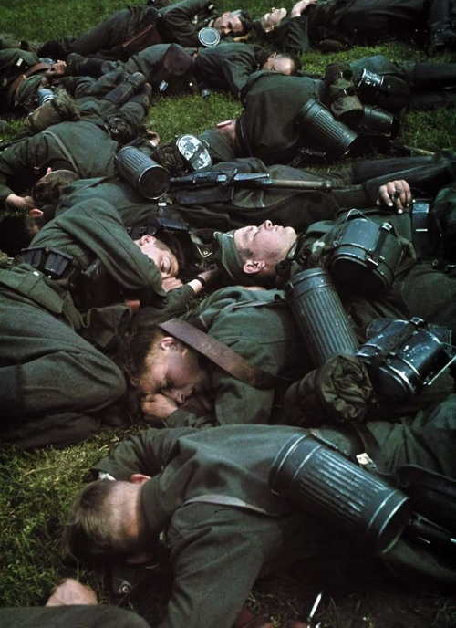 "German soldiers taking a ""nap time"" between holland and belgium"