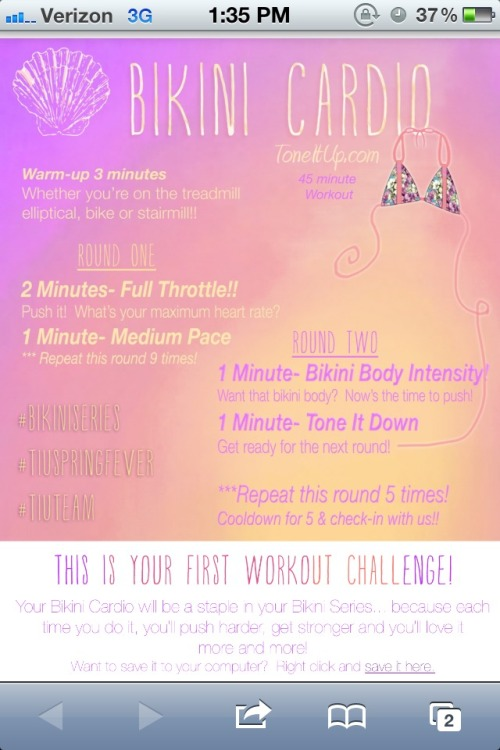 Gonna do Tone It Up's interval workout today & I'm scurrrred. Normally I only do 30 minutes & 1 min intense followed by 2 min of recovery so this is definitely going to be a challenge!