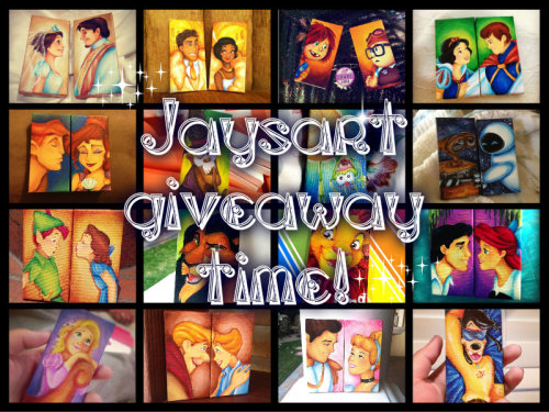 "jaysart:   Its (finally) Giveaway time!!! As thanks to all my wonderful followers for their support and encouragement, I'm doing another mini-canvas giveaway :D *two winners will receive a 2""x4"" canvas with the disney character of their choice  * one winner will receive a mini-canvas set with any two disney characters of their choice (they can be your OTP, or bffs, even crackships) *one winner will receive a 6""x6"" canvas with any character/scene they'd like (limit 4 characters)  Rules: Just reblog to win, max 5 reblogs per blog, I'll ship anywhere, make sure your ask box is open! Winners will be selected randomly and announced on March 1st"