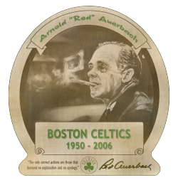 Red Auerbach bourbon label, mixed media (more details on my Behance page) 2 of 2 pieces I of mine in the In The Paint Boston exhibit at Voltage Coffee and Art.
