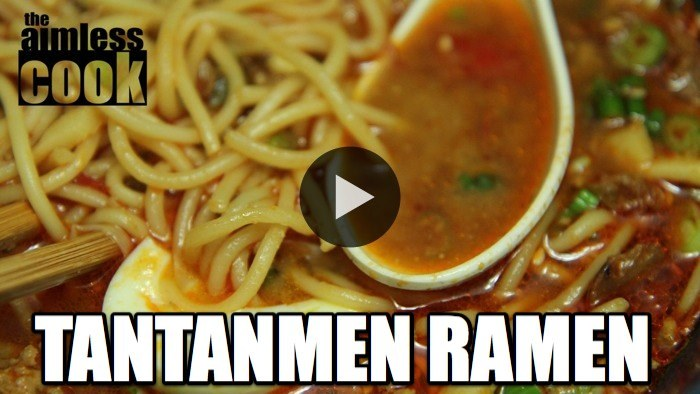 Tantanmen (Peddler's Noodles) is a spicy Japanese ramen dish based on a Szechuan dish of the same name. The broth is made from doubanjiang, sesame and miso, giving it a wonderfully spicy and savoury flavor. There's nothing better than warming up next to a large bowl of this incredible ramen. Learn how to make it with The Aimless Cook! WATCH NOW: Tantanmen