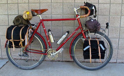 manofextremeleisure:  mighty steed pre-tour on Flickr.I look at pictures from bike trips past, and I think that I could just load up, ride away, and opt out of the paper trail forever. I guess I'll wait til my kids are adults.