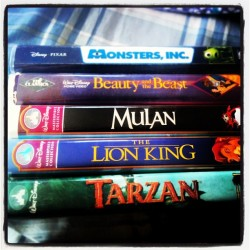 Random choice of movies for sunday funday  #bringingouttheVHS #yesisaidVHS #vhs #movie #monstersinc #beautyandthebeast #mulan #lionking #Tarzan #disney