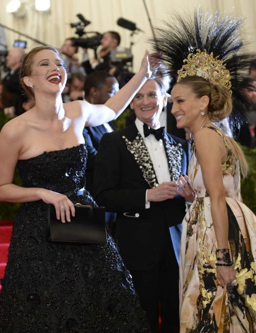 Jennifer Lawrence and Sarah Jessica Parker at The Met Gala, 2013