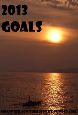 Today's challenge is to set goals. ten of them. every week. without looking back at the previous week. I remember in 2011 i did this every single monday. EVERY monday. it was crazy. i have journals full of 'em. Now i put them in evernote and in 2012 i wrote them down sporadically. So here they are this week. I'm not going to post them on here every week. and i'm not going to post my exact ten goals- just ideas of them. my actual goals are more specific and measurable. but the sentiment is the same. 2013: let's do this.   1. spend more time with mom   2. Lots of vegan blogging/posting  3. Visit julie, brooke, nina, and sam  4. Run a big race  5. Graduate with a 4.0  6. Participate in an AR activism activities  7. Seriously plan Australia  8. Maintain savings balance  9. Work out more consistently  10. Get my PMP certification Not sure what my push goal is… probably the savings balance one. my BFG (big fun goal) is definitely planning australia!