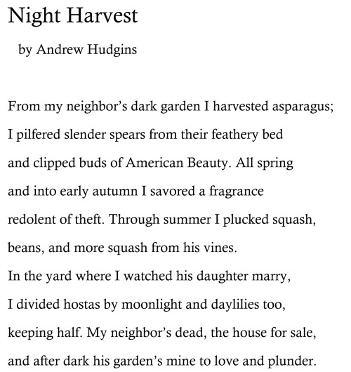 'Night Harvest' by Andrew Hudgins. From A CLOWN AT MIDNIGHT, out June 6.