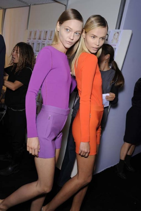 supermodelgif:  Sasha and Natasha backstage at Max Mara s/s 2011 backstage