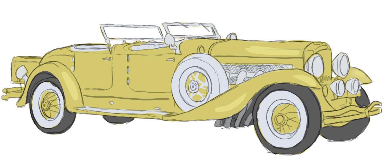 Quick study of the 1929 Duesenberg Model J, apparently the car they used in Gatsby instead of the 1922 Rolls Royce. whatev whatev.  much help from this website.