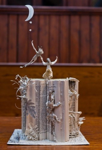 "readandrungirl:  PETER PAN Book Sculpture discovered at J M Barrie's Birthplace in Kirriemuir, Scotland  'Book Week Scotland' treasure hunt, Nov 2012 photos © Chris Scott (photographer) & Scottish BookTrust. ""The beautiful paper scuptures were made by a mystery sculptor whose identity remains a secret."""