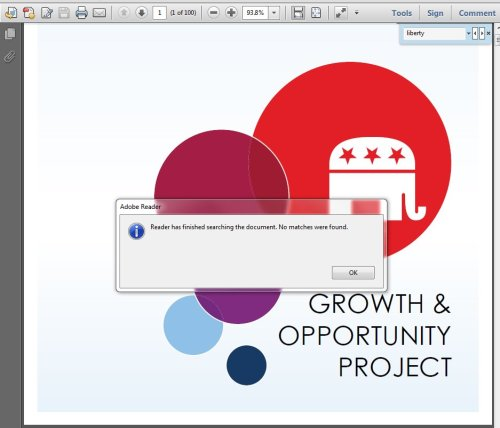 "Fail, indeed:  ""100 pages of plans for the re-branding of the GOP, and not one mention of liberty."" Fail.   (via ronpaulproblems)"