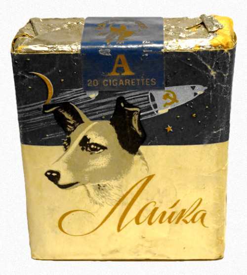 fortunecookied:  Soviet Space Dog Laika Cigarette Pack Russia 1950s  Good product placement.