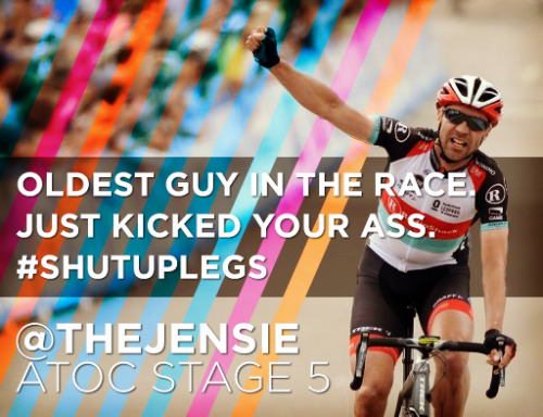 Jens Voigt's gutsy attack and solo breakaway for the win in stage 5 of the Amgen Tour of California yesterday is the kind of bike racing we all love to watch. At 41 he may be the oldest guy in the race, but he'll still kick your ass. Totally amazing.