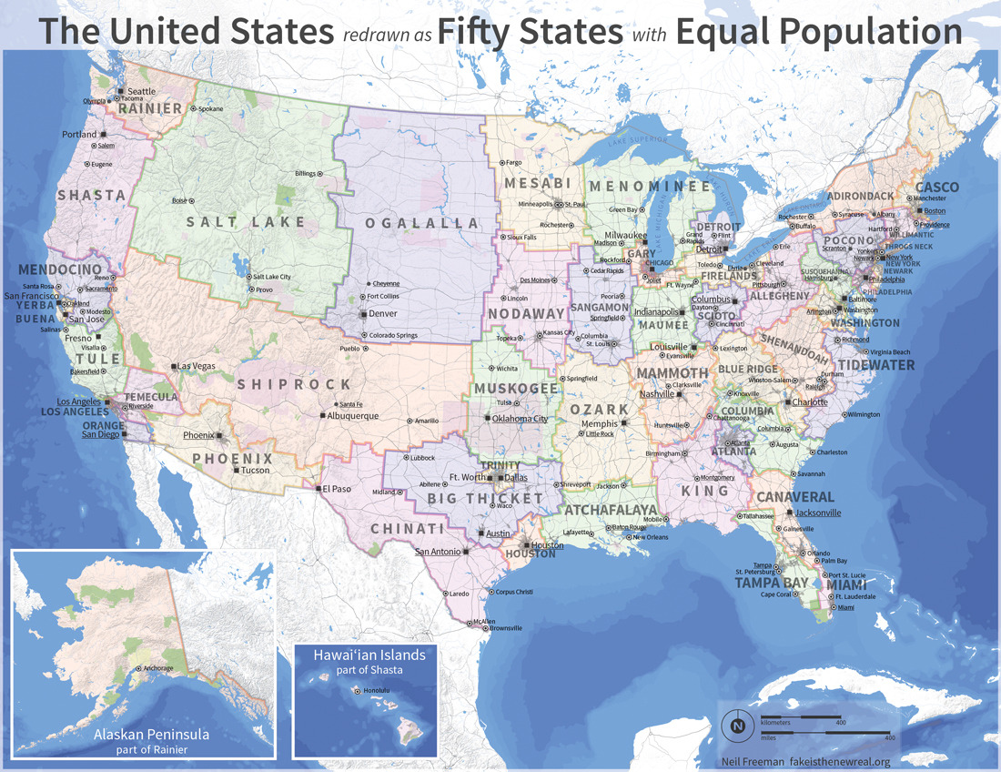 explore-blog:  Neil Freeman redraws the US into 50 new states with equal population. (↬ kottke)