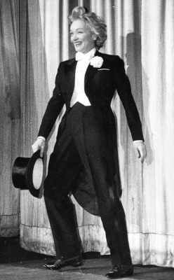 Marlene Dietrich takes a curtain call.