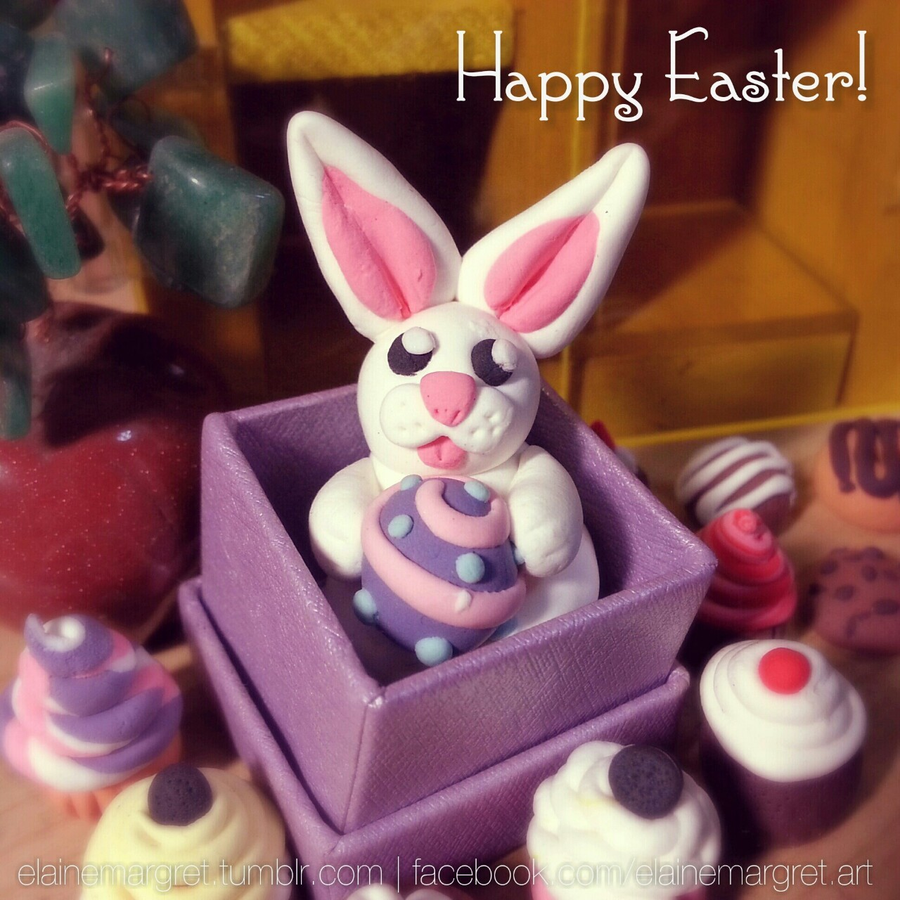 Too late? Never mind! My little clay bunny still wishes everyone a very HAPPY EASTER! ;D