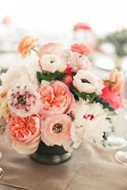 bride2be:  centerpiece with pink ranunculus, garden roses, peonies, and anemones