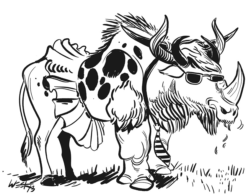 Cool Bull/Wildebeest/Buffalo/Rhinoceros in a Tie and a Tutu, by request of the preschooler who cuts out pictures of animals from magazines and makes them into books for me. The sunglasses are what makes it cool, by the way.