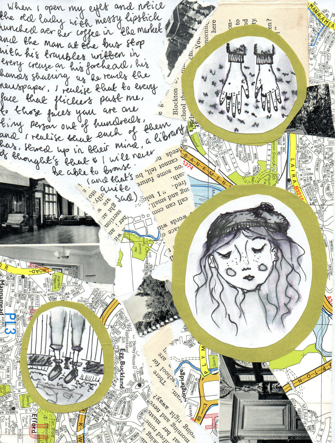 mooncrumbs:  collage/pen & water piece about realizing on the bus journey home that you're a minor character in everyone else's lives and you know I didn't realize how strange that was until now???
