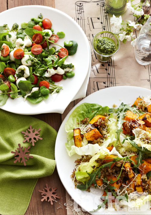 Here's two indulgent Christmas side salads to complete your festive feast - Cherry tomato and broad bean salad and pumpkin and rocket salad. (Photography by Brett Stevens; Recipe by Valli Little).