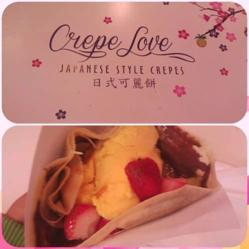 Mango and Strawberry Crepe with Nutella and Caramel with Mango Ice Cream. BOMB OR WHAT. (at Crepe Luv)