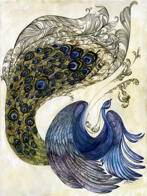 darksilenceinsuburbia:  Feanne. One of A Pair of Peacocks , 2012.   On Tumblr: http://feanne.tumblr.com/ Via