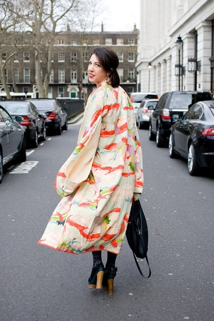 Our very own Alex Macdonald wearing her vintage kimono in a style snap for British Vogue.