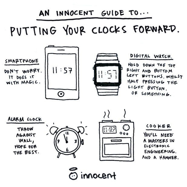 Innocence guide to putting the clocks forward