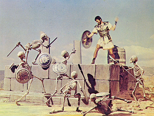 mementomoriart:  Jason and the Argonauts (1963) Film still with stop motion animation Directed by Don Chaffey (1917 - 1990), animated by Ray Harryhausen (1920 - 2013) Ray Harryhausen died today, aged 92. RIP.  One of my all-time favorite movies. Trivia note: the skeletons' shields depict Harryhausen creatures from earlier films.