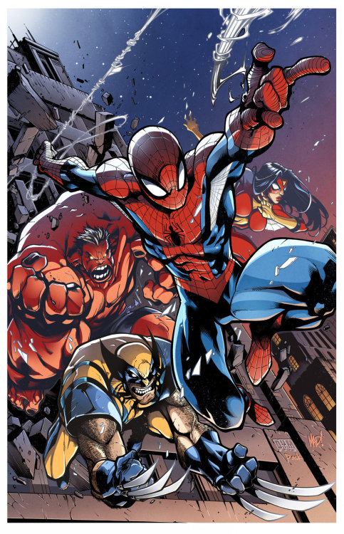 Avenging Spiderman // artwork by Joe Madureira and  ~Pask (2013)