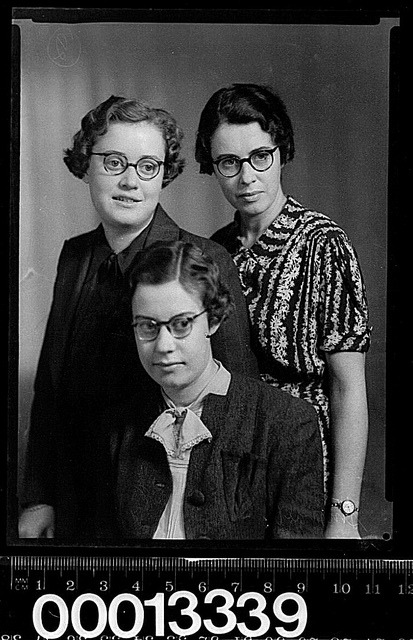 Group portrait of three women wearing glasses by Australian National Maritime Museum on The Commons on Flickr.