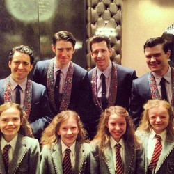 windiwoo:  How cute is this pic with the boys from Jersey Boys and the four Matildas on Broadway??