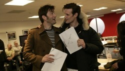 doctorwho:  The first read through for the Doctor Who 50th Special took place today.  Eeeee!!