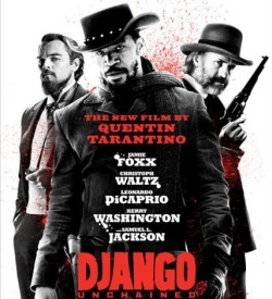En route to be sold at a slave auction, Django is freed by a German dentist, who happens to also be a bounty hunter.  The two become partners, and head off to kill and collect across the country.  Django's main mission is to find his wife, who the doctor discovers has been sold to the Candyland plantation.  To get her back, they need a top notch plan, with the mental, financial, and physical weapons to support. Man was this movie long, but so good!  I adore Christoph Waltz, and fell a little more in love with Leo - he is so great!  Jamie and Kerry gave good performances; but it was that Samuel L. Jackson that stole the show!  Some people were offended by the gore and racist content, but what else can you expect when you see a Tarantino film about slavery!  I thought it was clever, entertaining, and the perfect blend of comedy and action. Not to be confused with the 1966 original Django (which I will Netflix at a later date), I give Django: Unchained a grand applause.  Bloody funny.  Literally.