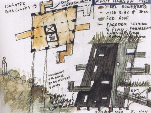 "KNUT HAMSUN CENTERby Steven Holl ArchitectsThis center dedicated to Hamsun is located above the Arctic Circle near village of Presteid of Hamarøy and the farm where the writer grew up. The museum includes exhibition areas, a library and reading room, a cafe and an auditorium. The concept for the museum is ""building as a body,"" creating a battleground of invisible forces.  *all those lines, black and white, minimal shape and set in a beautiful surrounding- this place is made for me…"