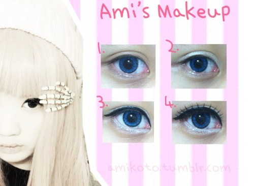 amikoto:  -My Makeup- UPDATED 1. Start off with inserting circle lens of choice. Mine are blue. Also apply any eyeshadow primer. 2. Apply a shimmery white eyeshadow all over your eyelid. 3. Line your eyes with liquid black eyeliner and line your waterline with a white pencil eyeliner. The white eyeliner helps extend the white of your eyes. 4. Apply black mascara to the top lashes, and if you want, add fake eyelashes! Products Used- Circle lens: PinkyParadise Primer: Etude House White Eyeshadow: Etude House Liquid Black Eyeliner: DollyWink White Pencil Eyeliner: Holika Holika Mascara: Tony Moly Fake Eyelashes: Darkness