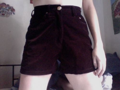 I found these shorts for 10 dollars at the Glebe Markets last saturday- they're deep burgundy velvet and fit me perfectly at my waist. Plus they're not super short booty showing shorts, which I like. They needed a new button so I went to Lincraft and got a gold button with a cherub in it and stitched it on. Love them.
