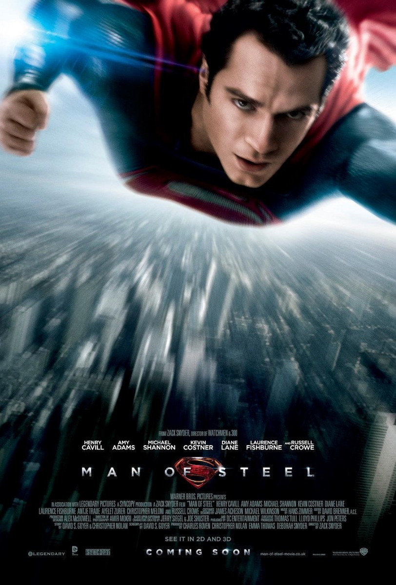 Man of Steel poster #3.  The thing i love about this poster, which i've already read is getting flack for this particular element (and drawing comparisons to the Star Trek posters) - is that it's blurry. Yes, it's blurry. And i love it. It makes total sense in context of Superman's powers and personality. If Superman existed in the real world with powers such as super-speed and flight you better believe you'd never get a clear shot of the dude.