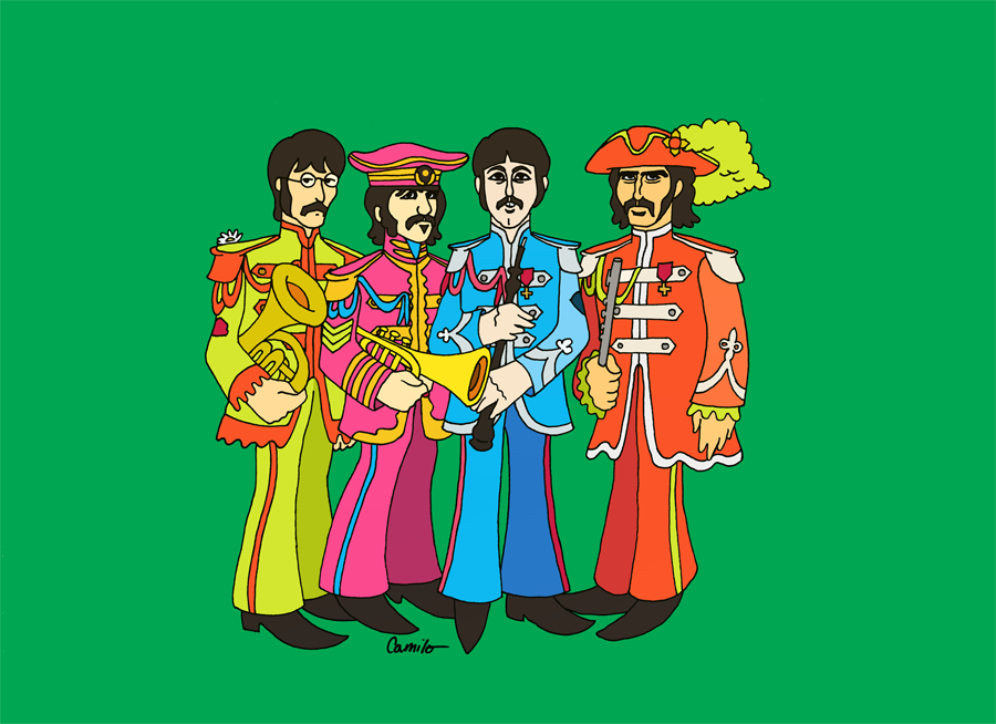 "I was curious as to what the Beatles might look like in their Sgt. Pepper's album cover outfits, in those magnificently garish day-glo colors; but drawn in the ""Yellow Submarine"" album cover style.  Now we know.  I present: Sgt. Beatle's Yellow Pepper Submarine Club Band"