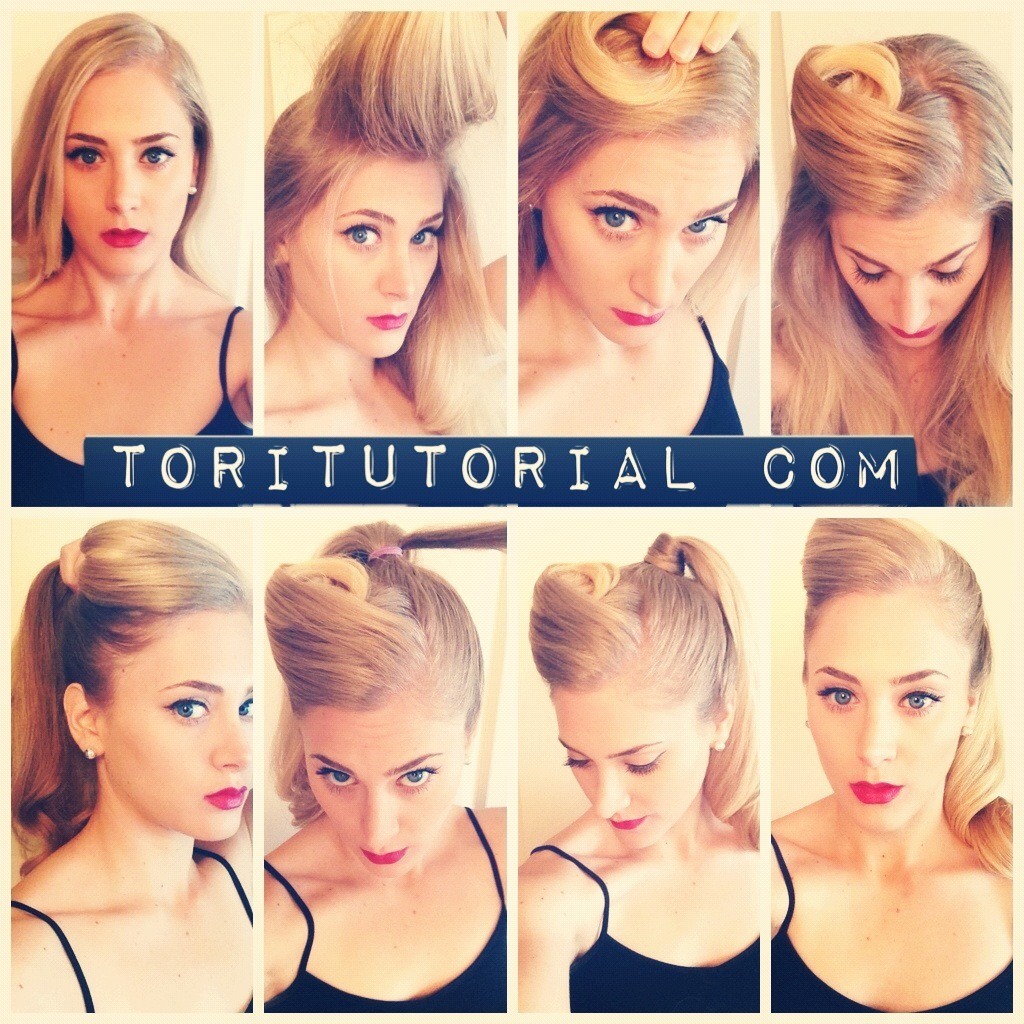"Retro Ponytail Updos, more specifically stylish ponytails, are my favorite ""dirty hair"" concealer.  They allow you to prolong your blowout which equals healthier hair and less work on your end. Win/Win.   The retro ponytail is definitely having its 15 minutes right now.  In order to achieve the look you'll need: Day/2 Day old hair Teasing comb Ponytail holder Bobby pins Hairspray Once you brush out your hair do the following: Take the top section of your hair, and tease it at the root to create volume.  If your hair is really greasy feel free to use some dry shampoo to absorb the oil. Once you tease the section, comb the top hair smoothly over the section and begin to mold the retro curl.  It is very simple, just wind it up as if you were wrapping it around a large curler.  Make sure to let the volume at the roots stay there.  Don't over mold it so that it is too rigid.  Pin to your head to secure. Spritz with Hairspray. Pull the rest of your hair into a high ponytail.  Make sure to brush the sides smooth and tight.  This will create a juxtaposition between the poof and spiral which will look great. Grab a small amount of hair form the ponytail and wrap it around the base of the ponytail to conceal the ponytail holder.  Fasten with a bobby pin on the under side of the ponytail.   Spritz the whole look with hairspray.  Ass some red lipstick and winged liner to really play it up."