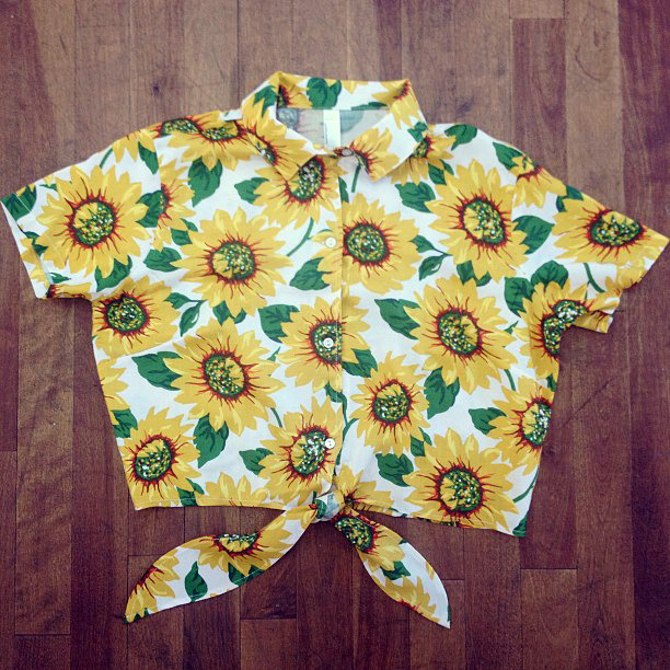 americanapparel:  Mid-Length Tie-Up Blouse is coming soon in the Sunflowers print!